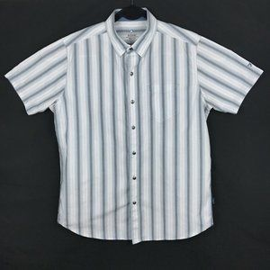 Kuhl White Blue Stripe Short Sleeve Button Shirt